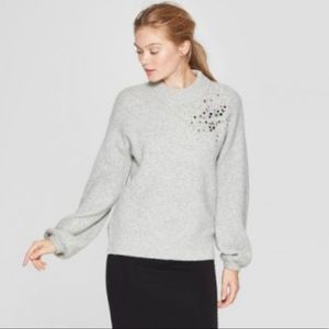 A New Day Grey Embellished Sweater Size M